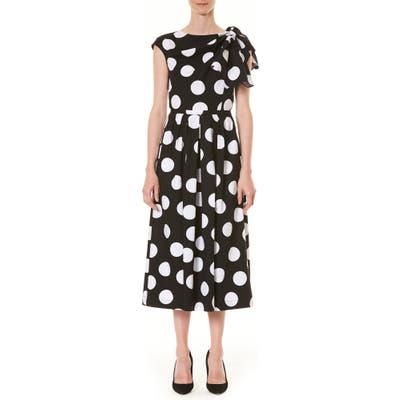 Carolina Herrera Polka Dot Knot Shoulder Midi Dress, Black