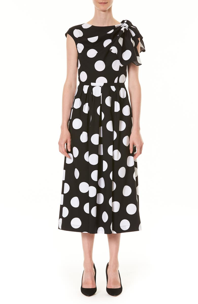 CAROLINA HERRERA Polka Dot Knot Shoulder Midi Dress, Main, color, 001