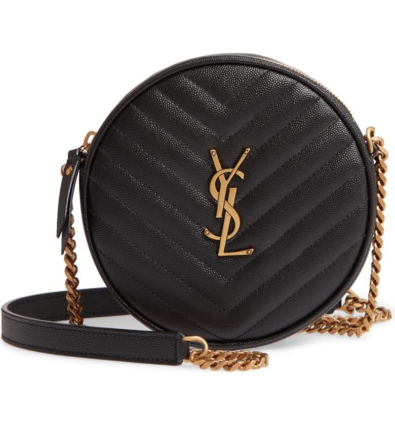 SAINT LAURENT Jade Matelassé Leather Crossbody Bag, Main, color, NOIR