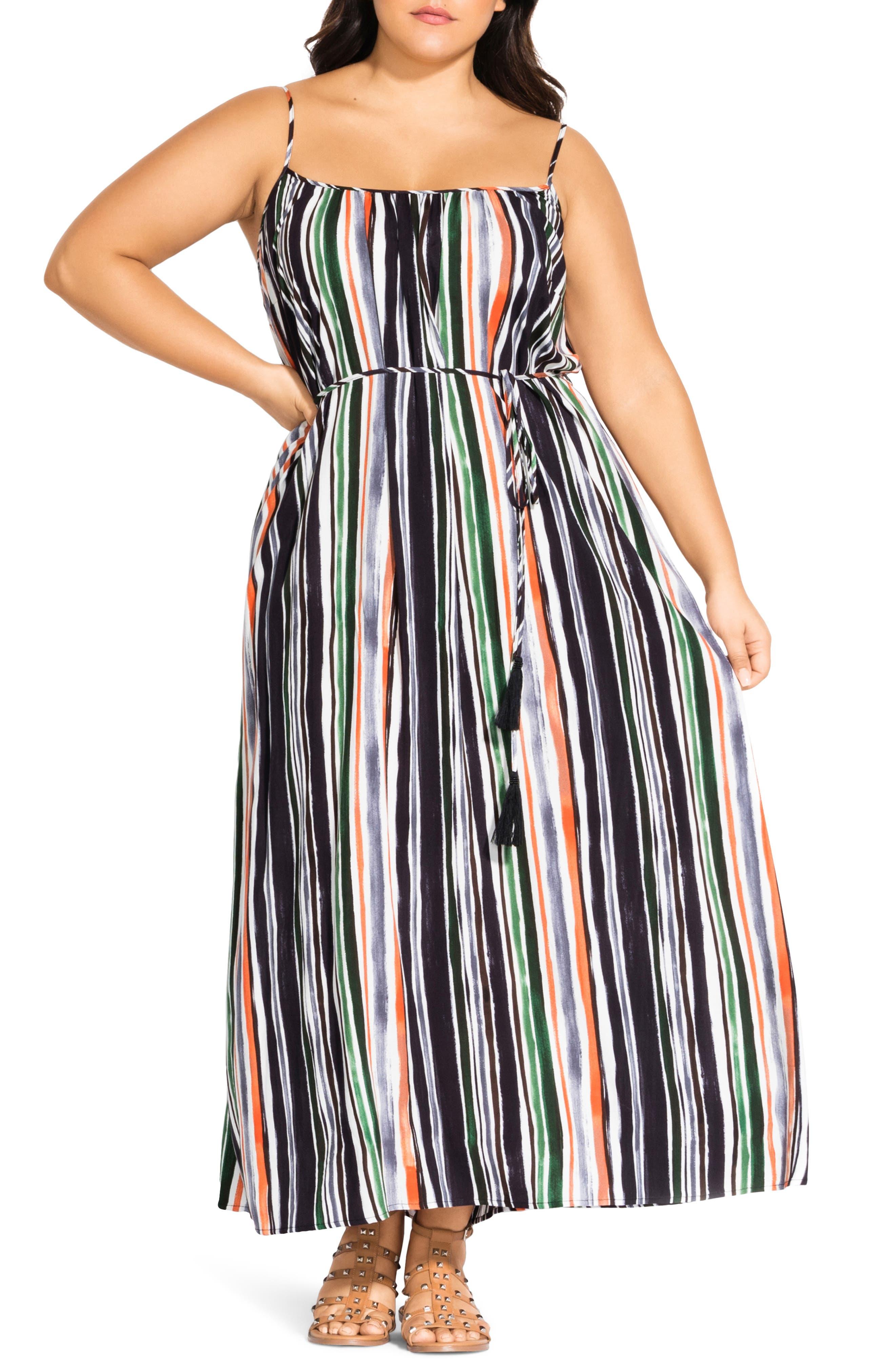 Plus Size City Chic Jungle Stripe Sleeveless Maxi Dress, None