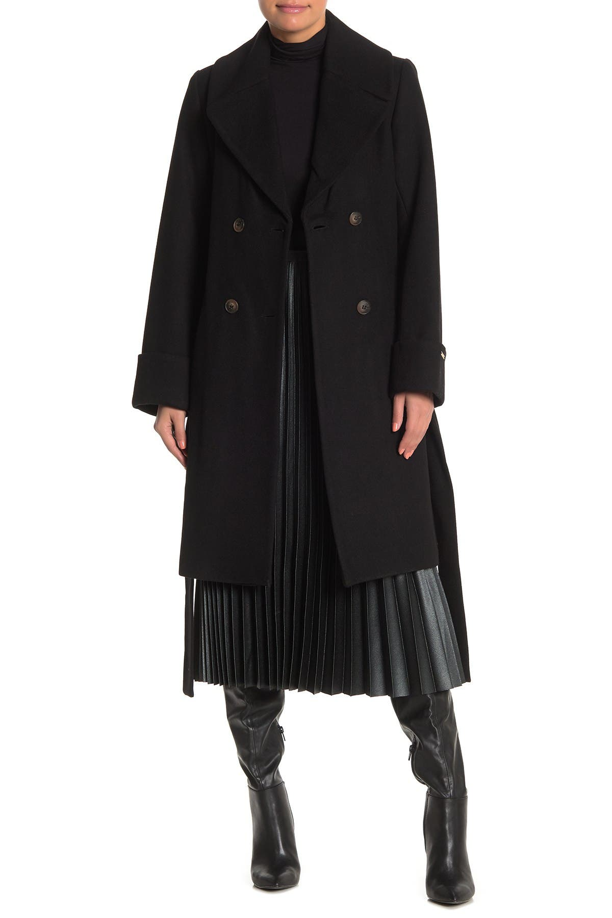 Image of Nine West Belted Double Breasted Wool Blend Coat
