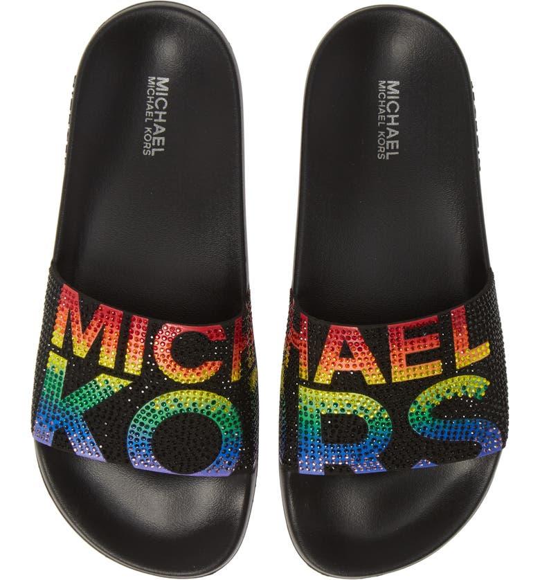 MICHAEL MICHAEL KORS Gilmore Slide Sandal, Main, color, BLACK MULTI