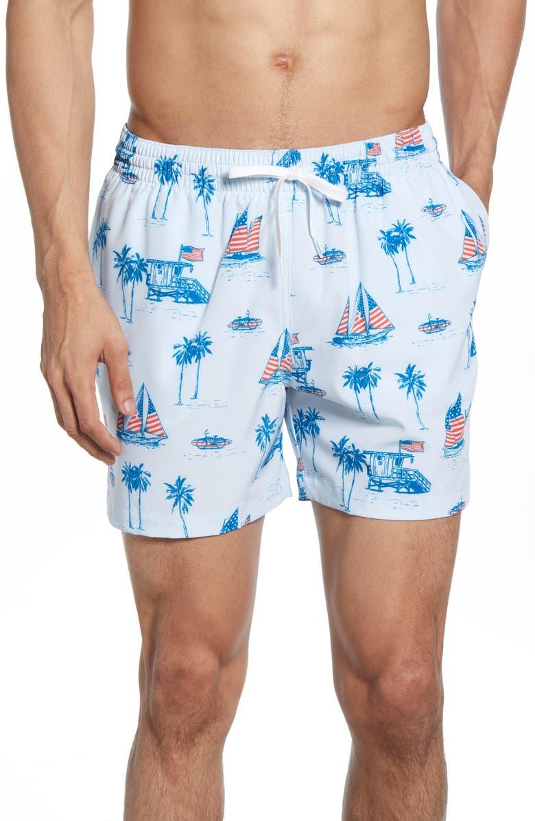 CHUBBIES Blue Huts Print Swim Trunks, Main, color, BLUE SAILBOATS