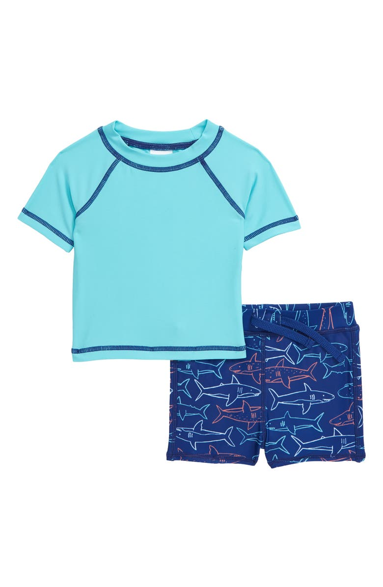 TUCKER + TATE Two-Piece Rashguard Swimsuit, Main, color, TEAL RADIANCE SHARKS