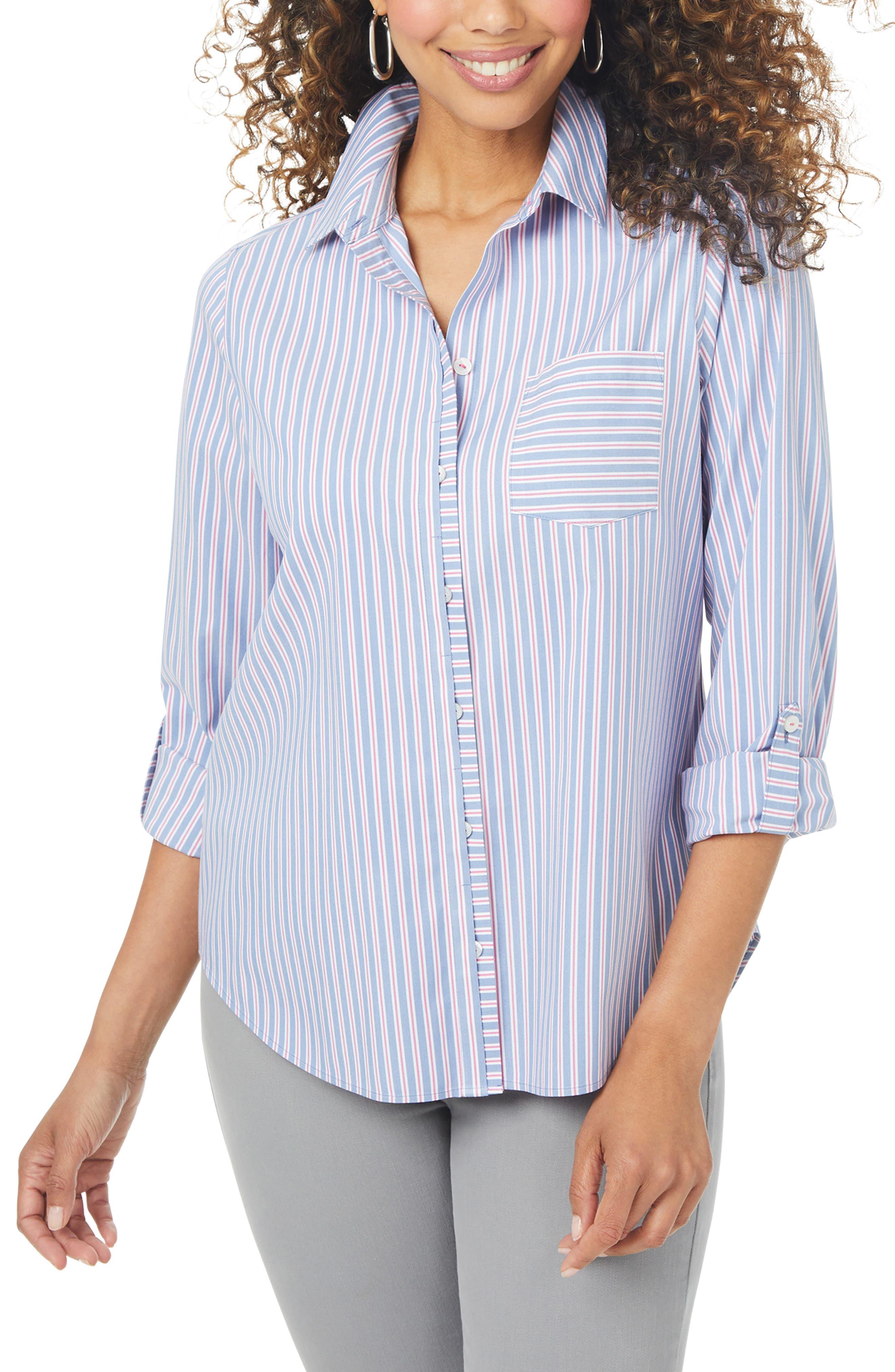Charlie Weekend Stripe Non-Iron Stretch Button-Up Shirt