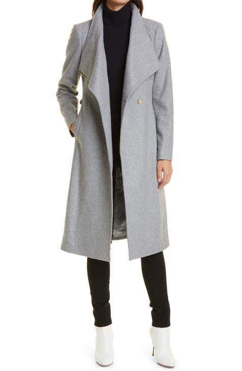 Women S Hooded Wool Blend Coats, Women S Black Hooded Wool Winter Coat
