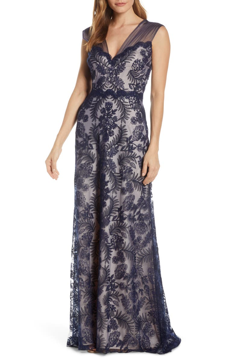 TADASHI SHOJI Embroidered Lace Evening Gown, Main, color, 410
