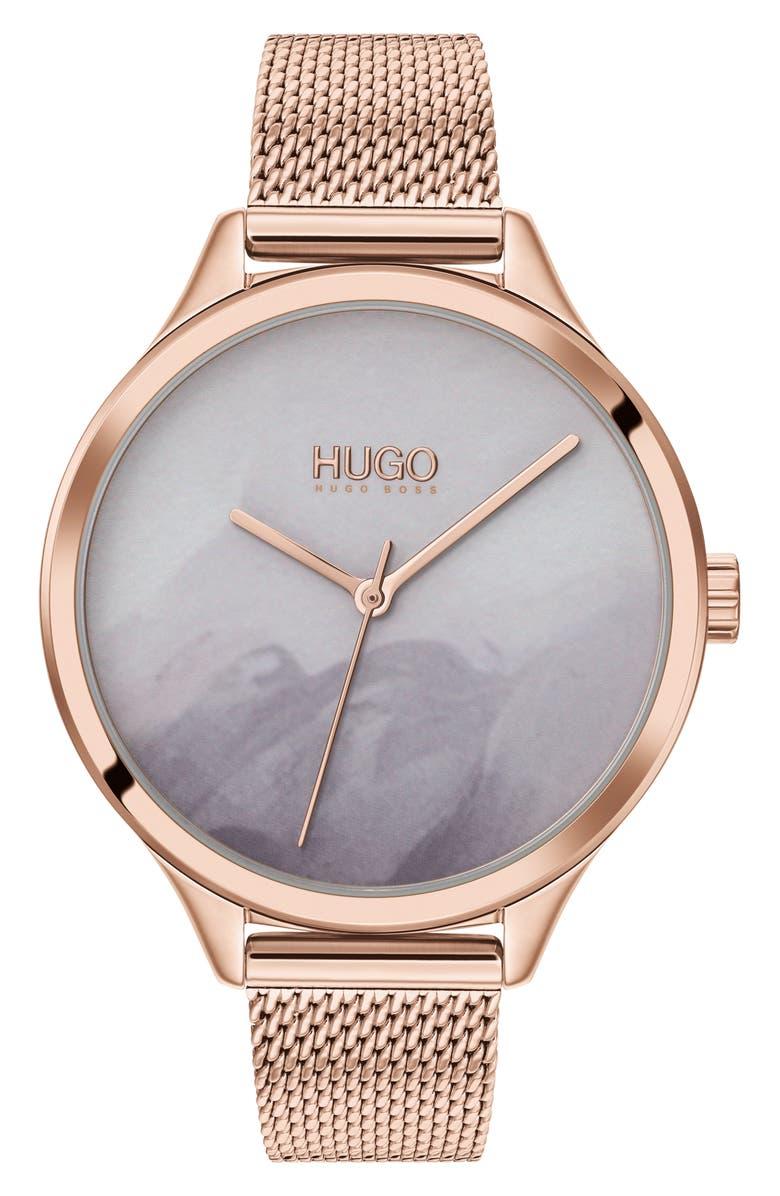 HUGO Smash Mesh Strap Watch, 36mm, Main, color, SILVER/ BLUE/ SILVER