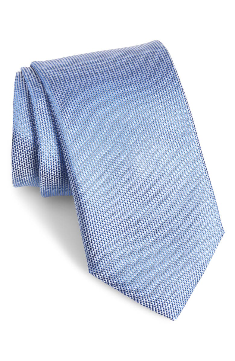 CANALI Solid Silk Tie, Main, color, LIGHT BLUE
