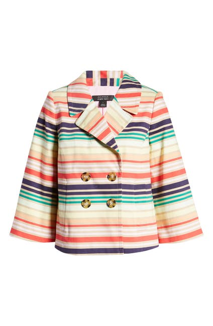 Image of Halogen® x Atlantic-Pacific Stripe Short Trench Jacket