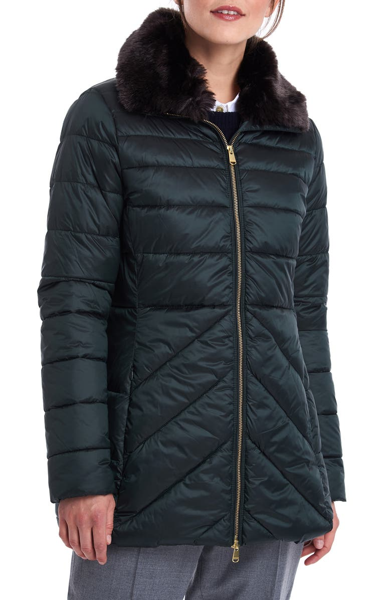 BARBOUR Shannon Mix Quilted Puffer Coat with Faux Fur Collar, Main, color, THYME