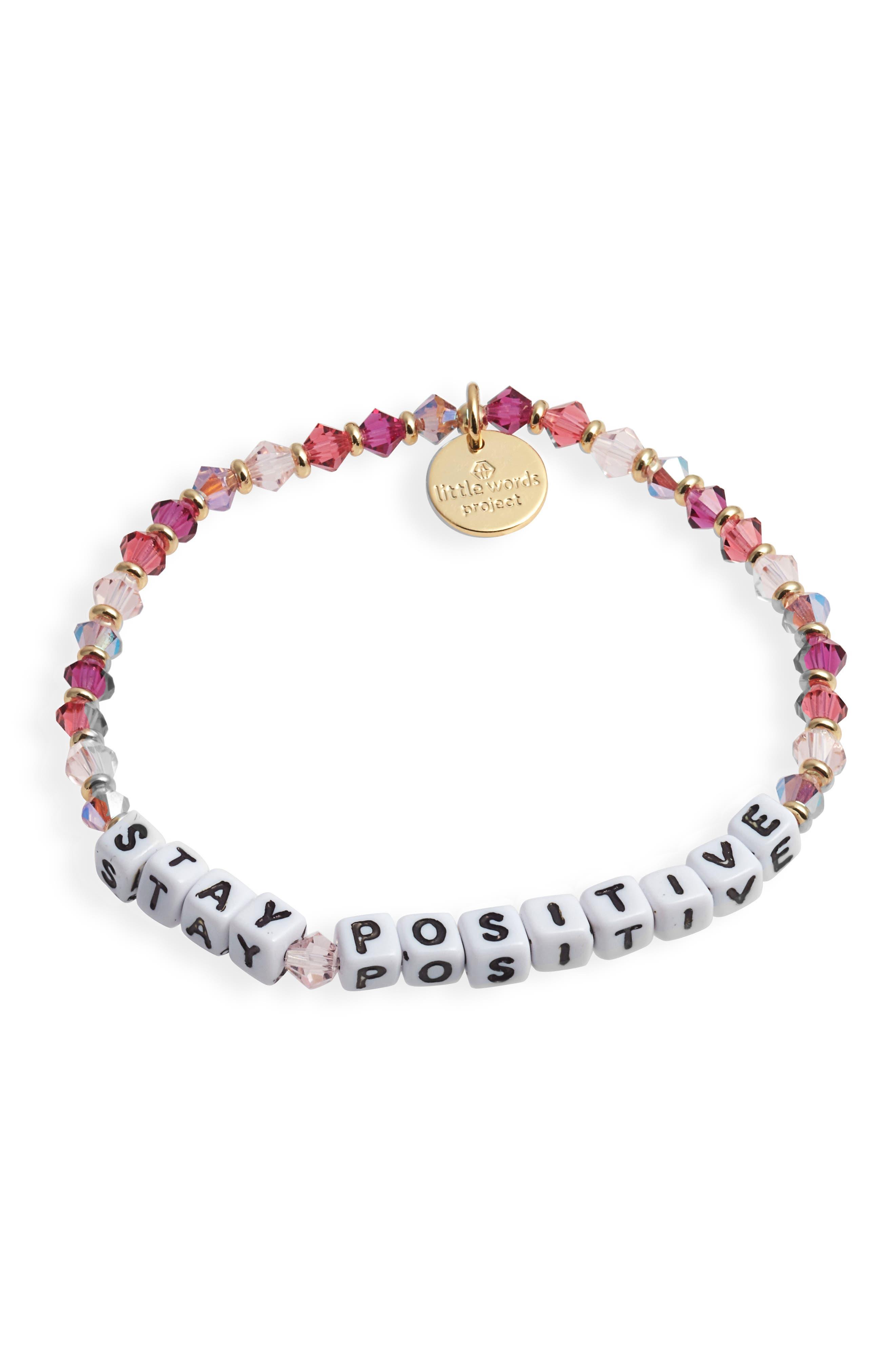 Stay Positive Beaded Stretch Bracelet