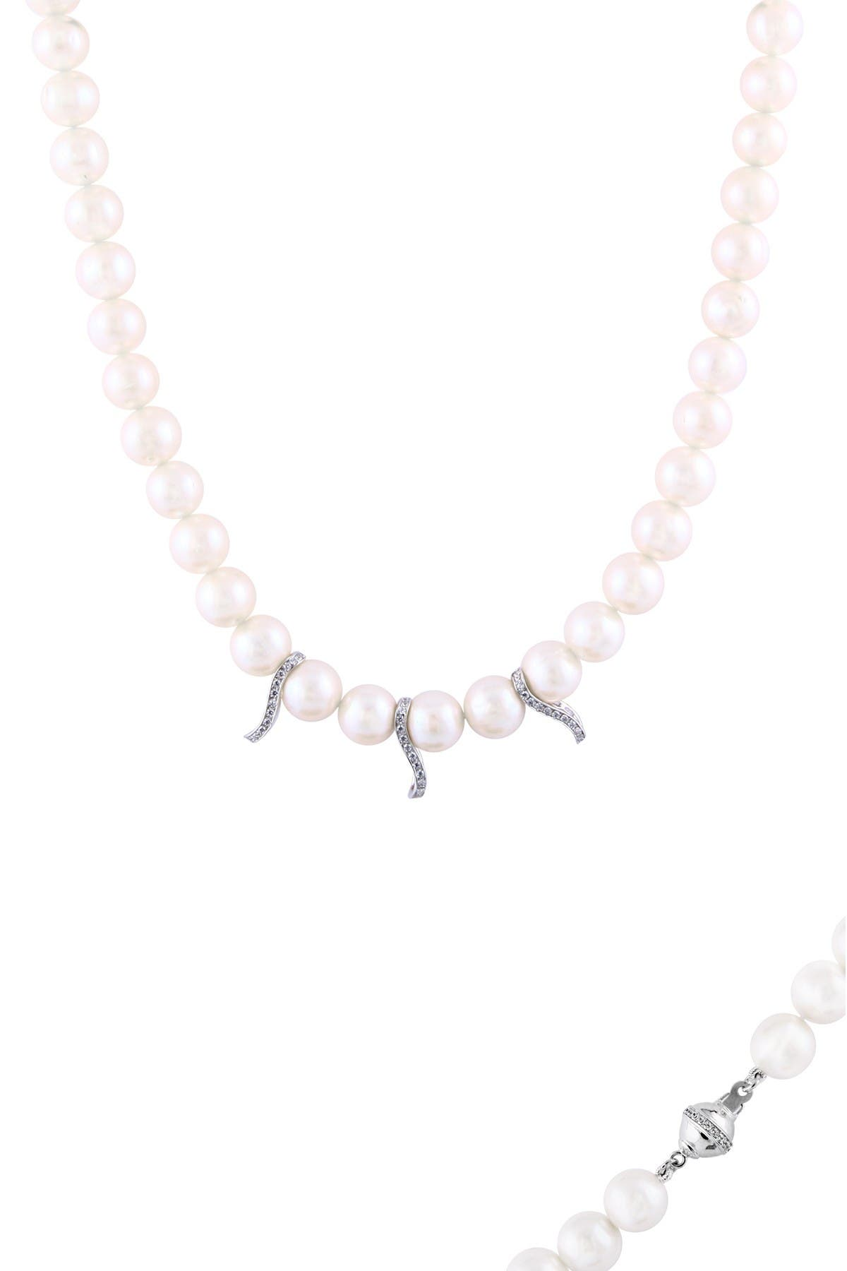 Image of Splendid Pearls Sterling Silver Pave CZ 10-11mm Freshwater Pearl Triple Divider Necklace