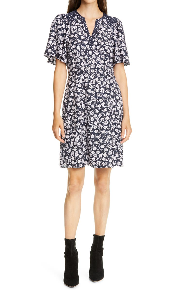 REBECCA TAYLOR Floral Print A-Line Dress, Main, color, NAVY COMBO