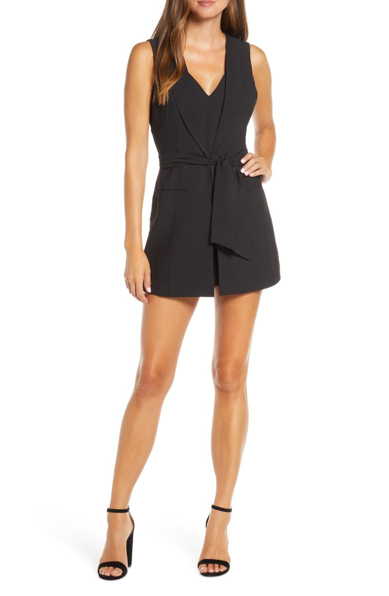 ADELYN RAE Mia Layered Look Cocktail Romper, Main, color, 001
