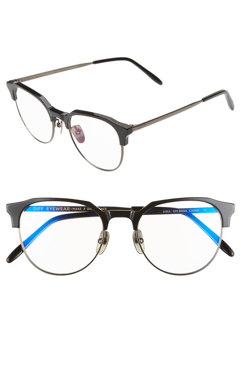 DIFF Kira 51mm Blue Light Blocking Glasses, Main, color, BLACK/ GUNMETAL/ CLEAR