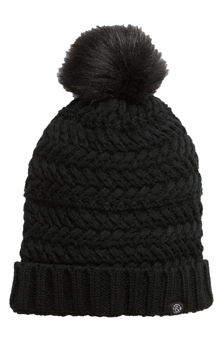 TREASURE & BOND Cable Knit Beanie with Faux Fur Pom, Main, color, 001