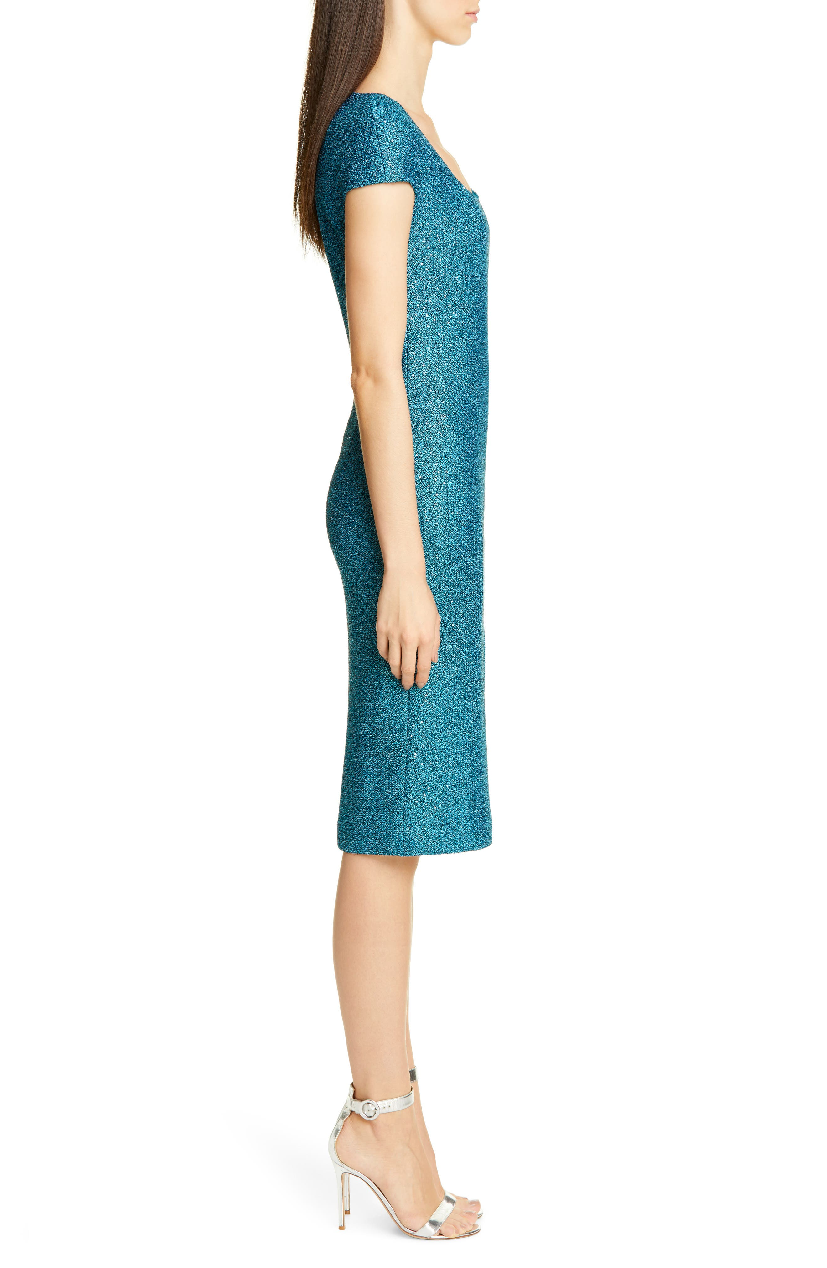 ,                             Luxe Sequin Tuck Knit Dress,                             Alternate thumbnail 5, color,                             TANZANITE MULTI