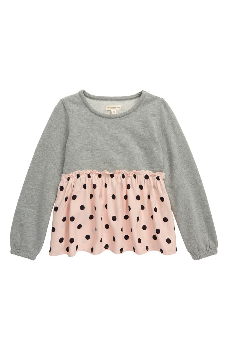 TUCKER + TATE Skirted Fleece Pullover, Main, color, GREY MD HEATHER- PINK DOT
