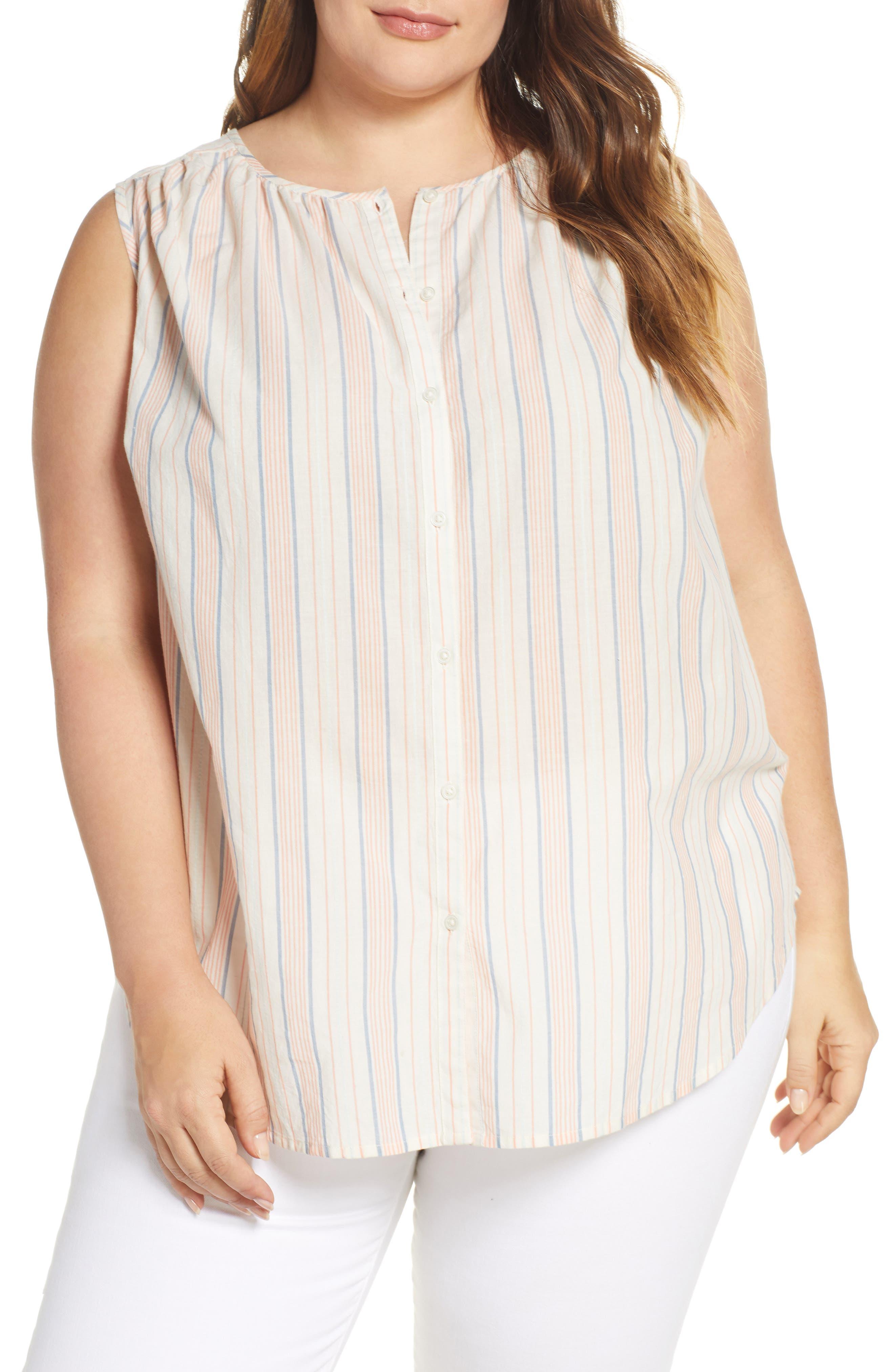 Plus Size Lucky Brand Stripe Sleeveless Shirt, Blue