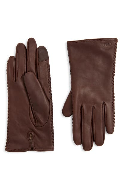 Polo Ralph Lauren Whipstitch Leather Gloves In Country Brown