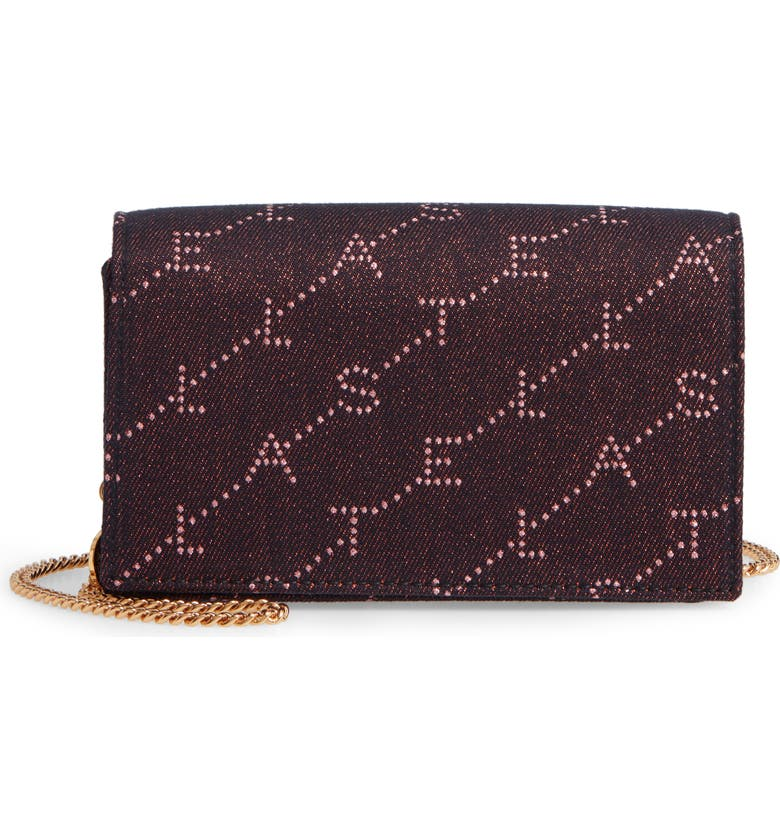 STELLA MCCARTNEY Mini Monogram Metallic Crossbody Bag, Main, color, ROSE