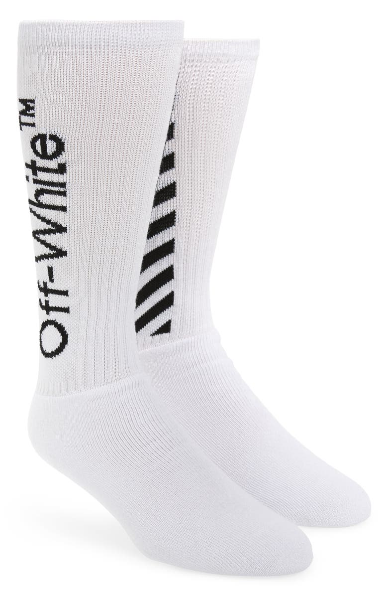 OFF-WHITE Diagonal Athletic Socks, Main, color, WHITE BLACK
