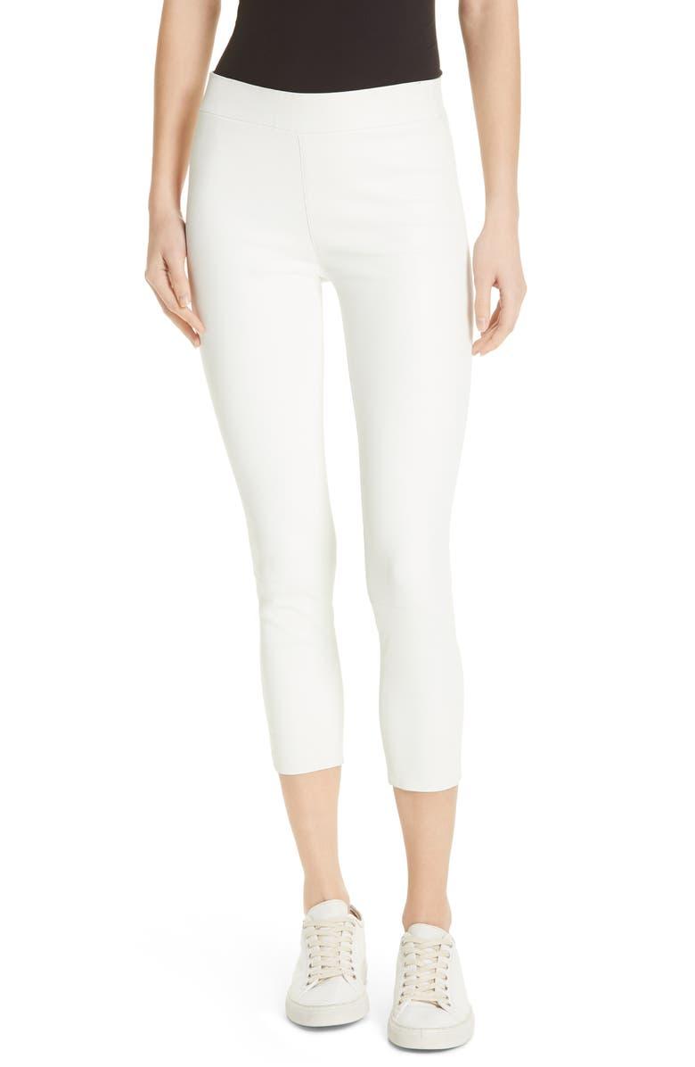 SPRWMN Leather Capri Leggings, Main, color, WHITE