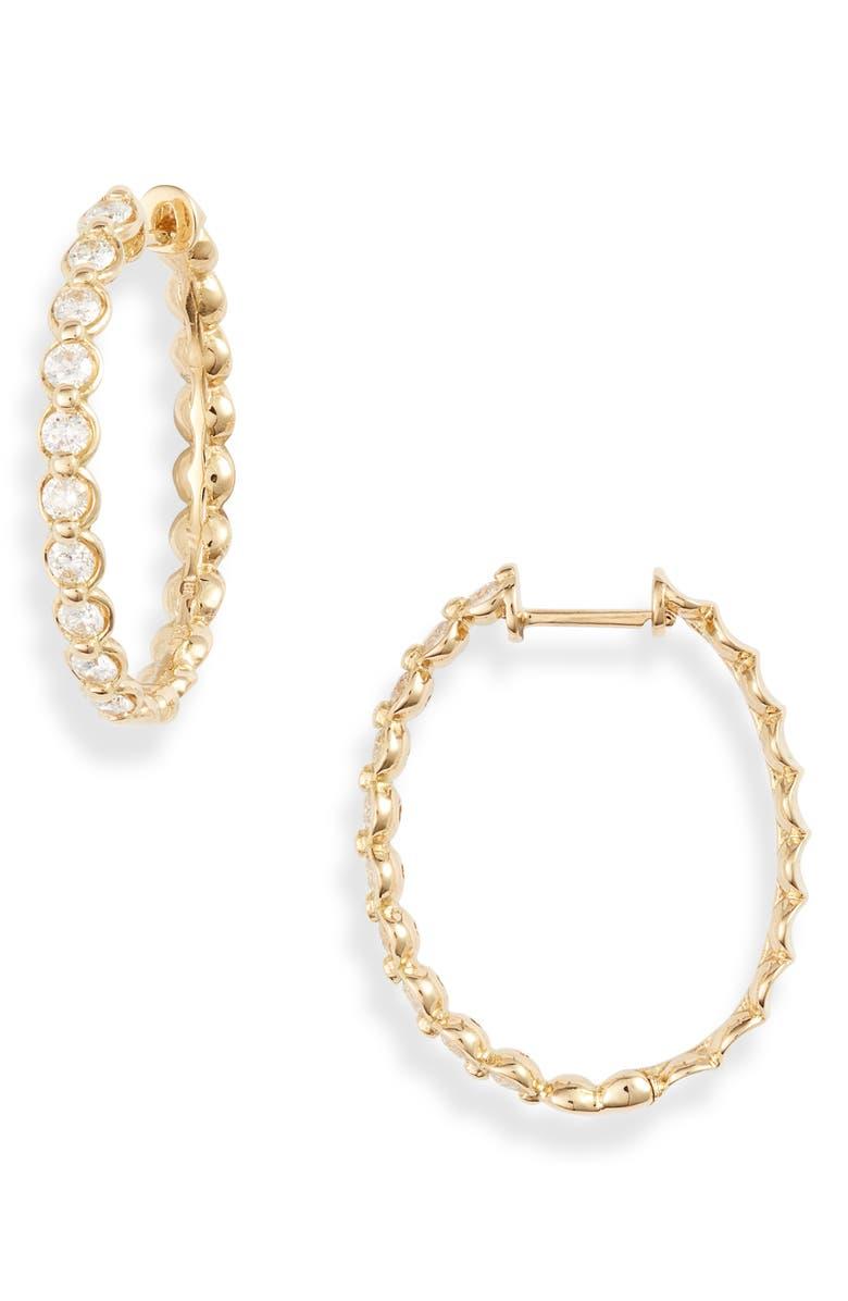 BONY LEVY Monaco Diamond Hoop Earrings, Main, color, YELLOW GOLD/ DIAMOND