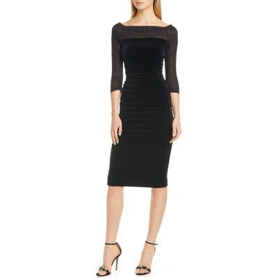 Chiara Boni La Petite Robe Loris Illusion Velvet Cocktail Dress, 50 IT - Black
