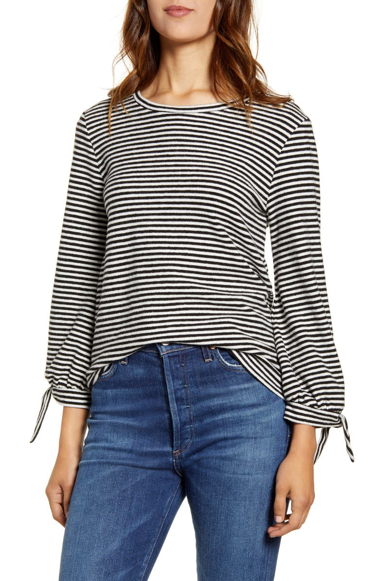LUCKY BRAND Tie Sleeve Cloud Jersey Top, Main, color, BLACK WHITE STRIPE