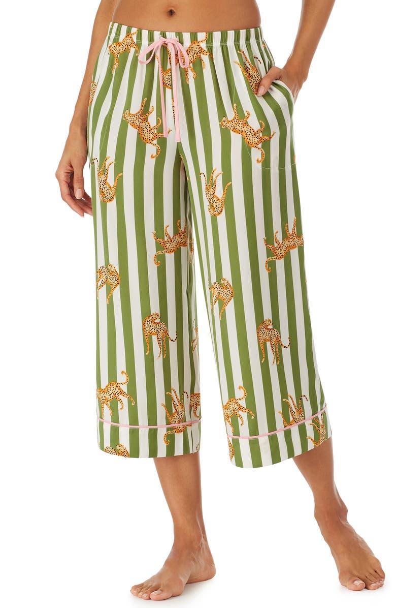 ROOM SERVICE PJS Wide Leg Crop Pajama Pants, Main, color, OLIVE/ NUDE STRIPE W/ JAGUAR