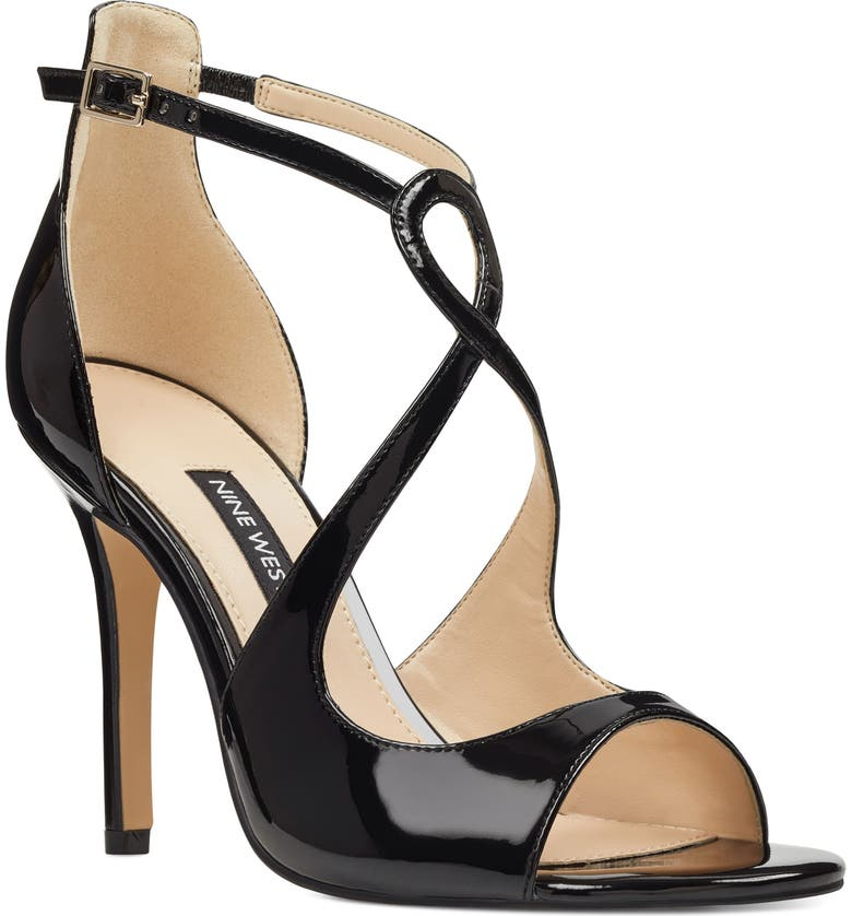 NINE WEST Giaa Strappy Sandal, Main, color, BLACK FAUX PATENT LEATHER