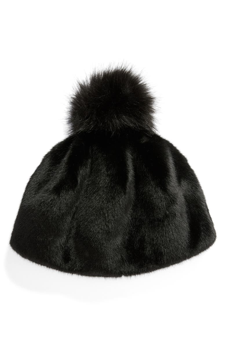 UGG<SUP>®</SUP> Faux Fur Pompom Beanie, Main, color, BLACK