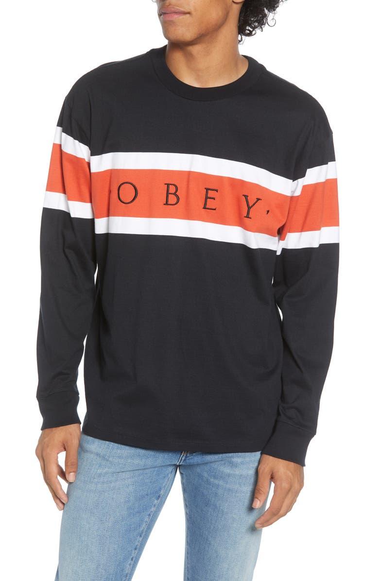OBEY Embrace Stripe Long Sleeve T-Shirt, Main, color, 002
