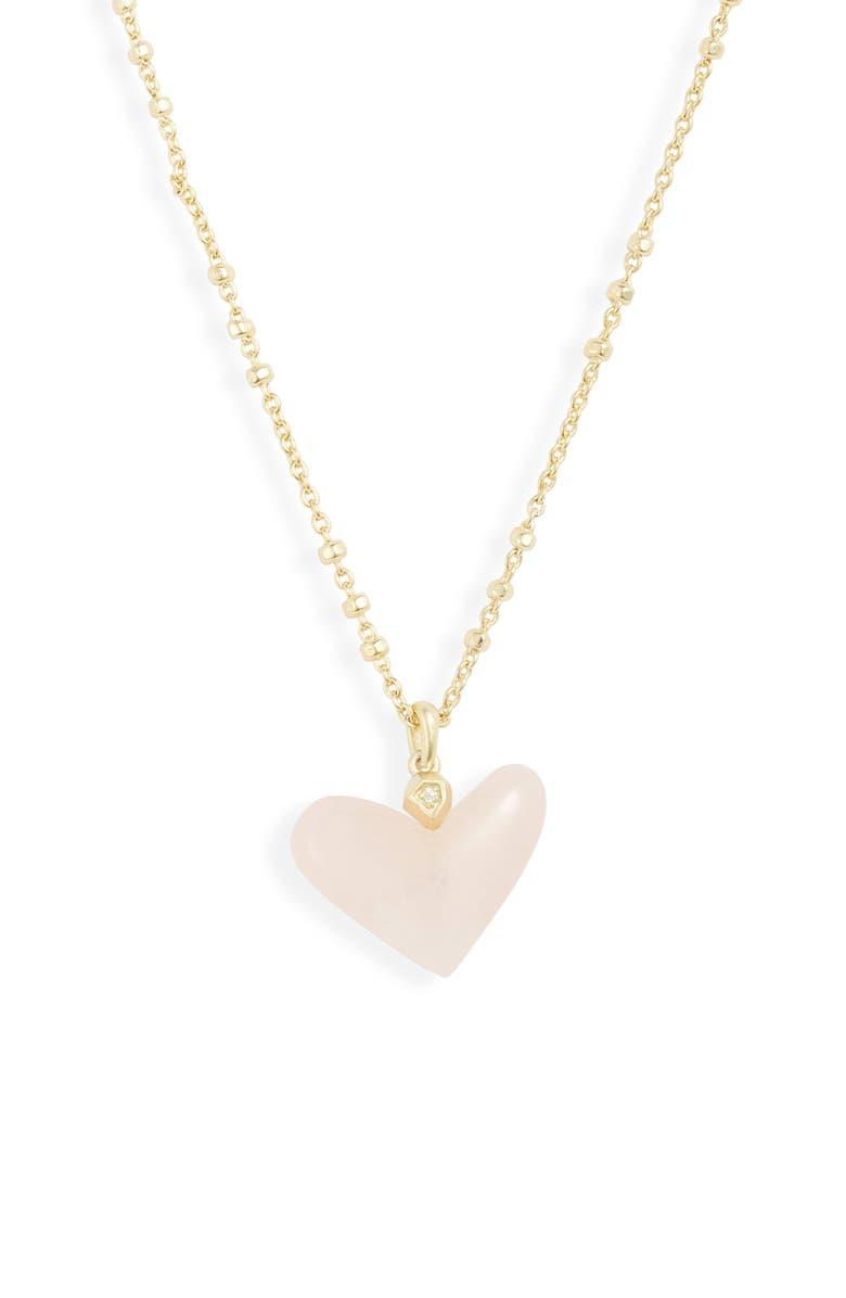 KENDRA SCOTT Poppy Short Pendant Necklace, Main, color, GOLD/ ROSE QUARTZ