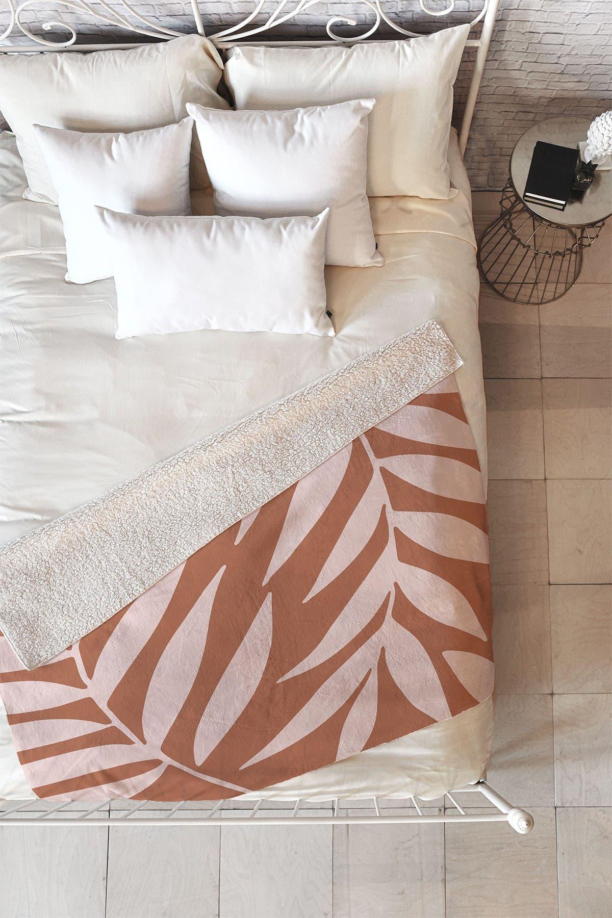 Image of Deny Designs Emanuela Carratoni Pink Palms on Baked Earth Faux Shearling Fleece Blanket