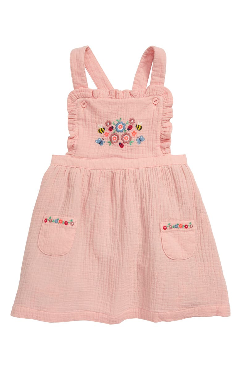 MINI BODEN Embroidered Pinafore Dress, Main, color, PINK PROVENCE/ DUSTY PINK