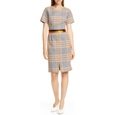 Hugo Koni Houndstooth Plaid Short Sleeve Dress, Grey