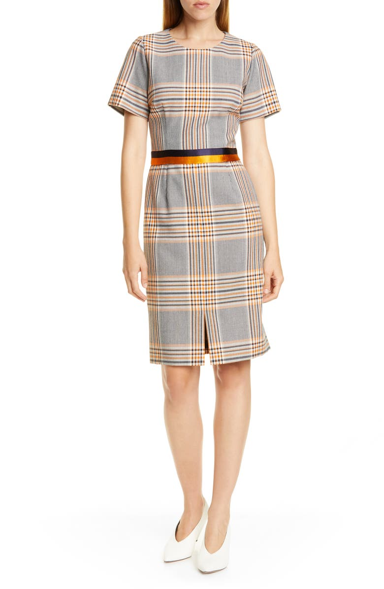 HUGO Koni Houndstooth Plaid Short Sleeve Dress, Main, color, CHROME PLAID