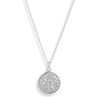 Sterling Forever Lotus Disc Pendant Necklace