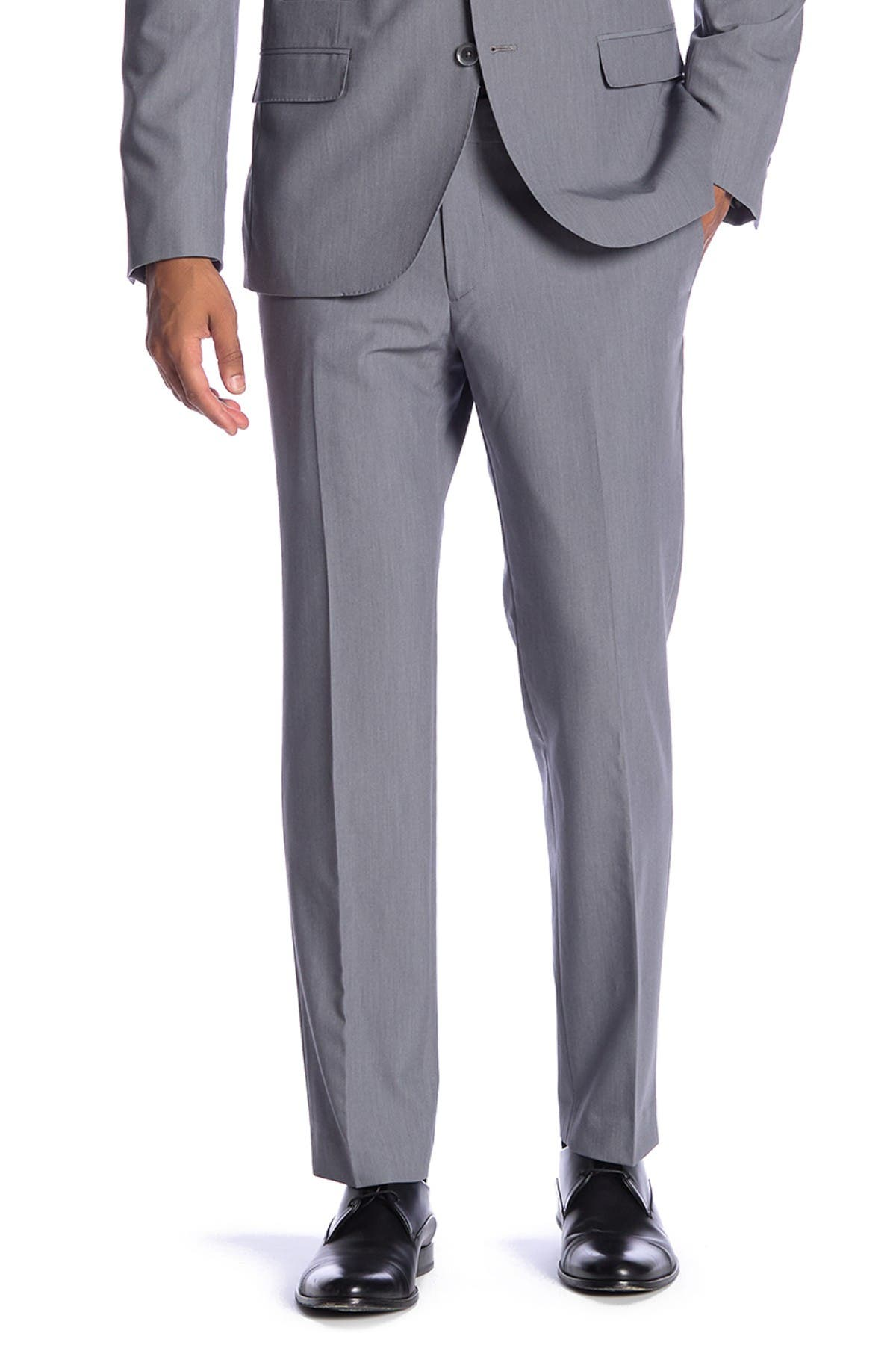 "Image of SAVILE ROW CO Essex Grey Slim Fit Bi-Stretch Suit Separate Pants - 30-34"" Inseam"