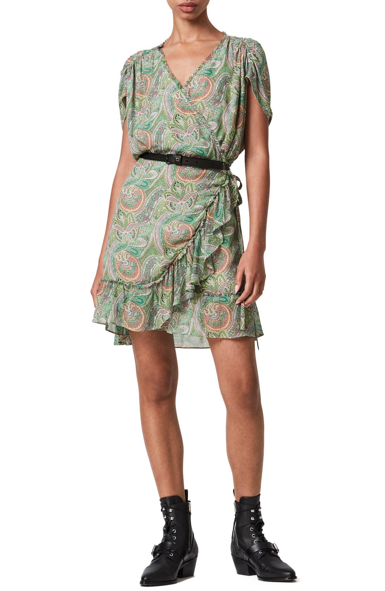 ALLSAINTS Zini Shahmina Paisley Wrap Dress   Nordstrom