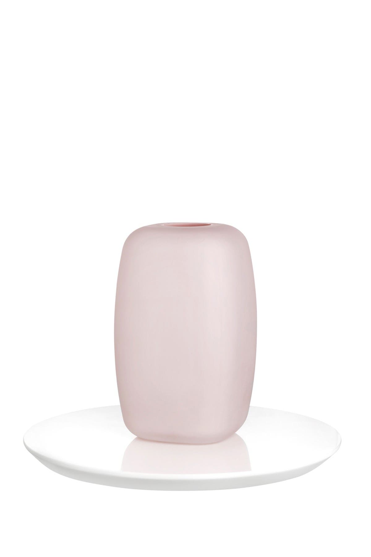 Image of Nude Glass Sweets Vase - Small - Opal Pink with Glossy White Base