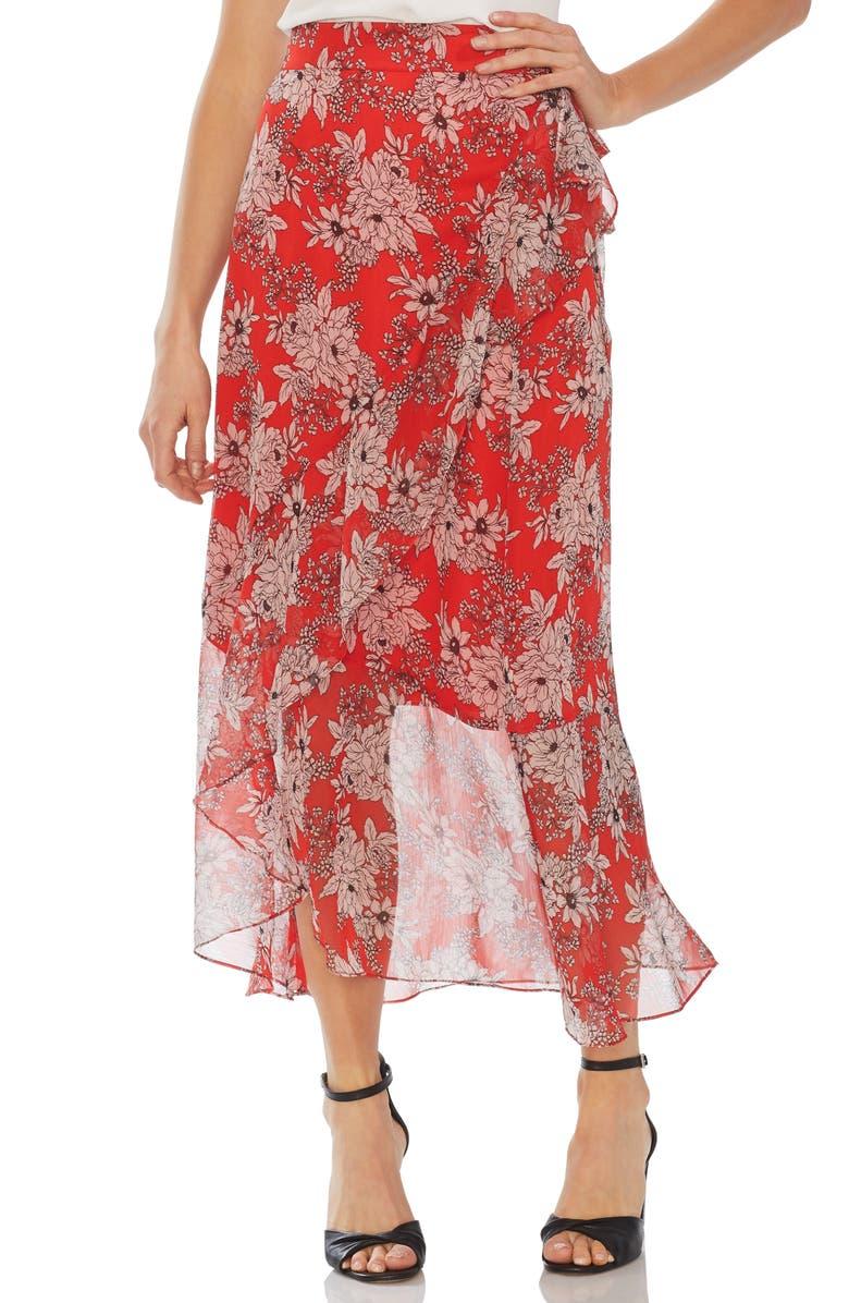 VINCE CAMUTO Floral Print Faux Wrap Skirt, Main, color, 602