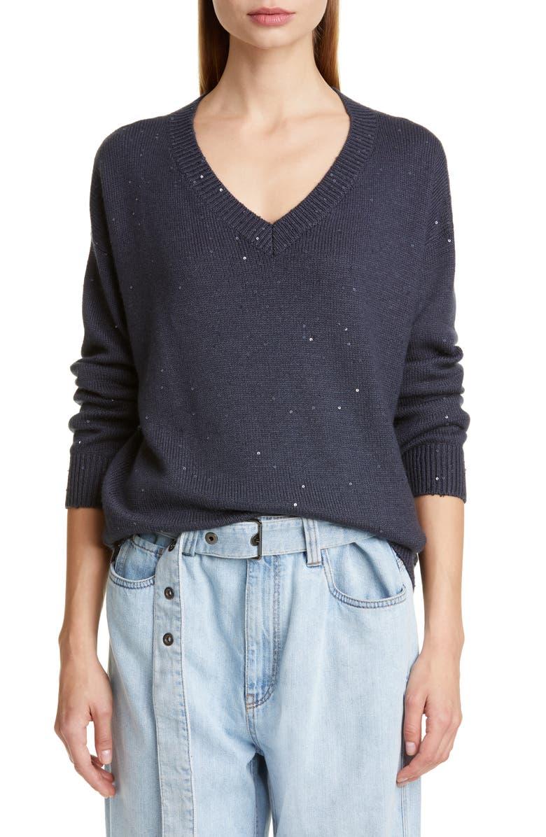 BRUNELLO CUCINELLI Sequin Cashmere & Silk Sweater, Main, color, MIDNIGHT