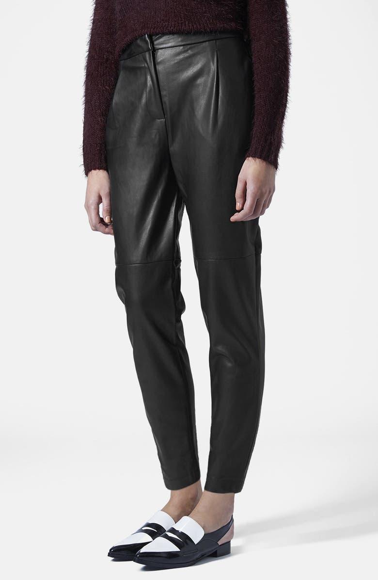 TOPSHOP Faux Leather Trousers, Main, color, 001
