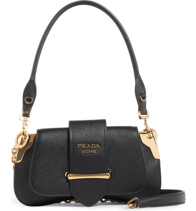 PRADA Sidonie Leather Shoulder Bag, Main, color, NERO