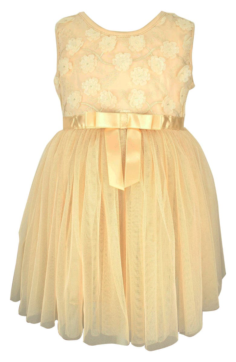 POPATU Flower Ribbon Tulle Dress, Main, color, IVORY