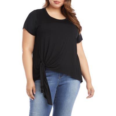 Plus Size Karen Kane Asymmetrical Side Tie Short Sleeve Top, Black